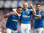 07.04.2018 Rangers v Dundee:<br /> Alfredo Morelos celebrates his goal with Kenny Miller and James Tavernier
