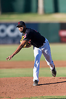 AZL Indians 1 starting pitcher Raymond Burgos (46) follows through on his delivery during an Arizona League playoff game against the AZL Rangers at Goodyear Ballpark on August 28, 2018 in Goodyear, Arizona. The AZL Rangers defeated the AZL Indians 1 7-4. (Zachary Lucy/Four Seam Images)