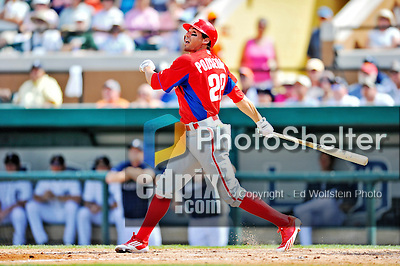 9 March 2012: Philadelphia Phillies outfielder Scott Podsednik in action during a Spring Training game against the Detroit Tigers at Joker Marchant Stadium in Lakeland, Florida. The Phillies defeated the Tigers 7-5 in Grapefruit League action. Mandatory Credit: Ed Wolfstein Photo