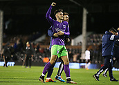 31st October 2017, Craven Cottage, London, England; EFL Championship football, Fulham versus Bristol City; Callum O'Dowda of Bristol City with a member of the coaching staff celebrating towards the Bristol City fans after the final whistle as Bristol City defeat Fulham at Craven Cottage by 0-2