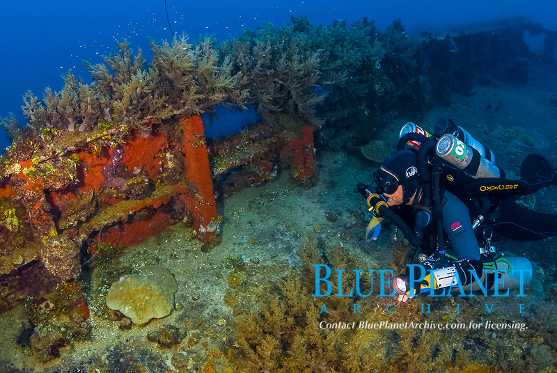 tech Diver, Rebreather, encrusted raillings, coral reef senic, soft corals, small fish, Operation Hailstone, Wreck, WWII, Japanese shipwreck, Chuuk, Micronesia, Truk, Chuuk Lagoon, Pacific Ocean, MR