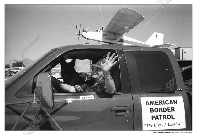 Founder of the civilian group American Border Patrol, Glenn Spencer, in a Fourth of July Parade, Palominas, Arizona. July 4, 2003.