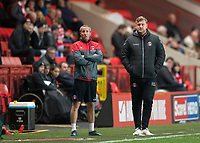 Karl Robinson manager of Charlton Athletic and Assistant Manager Lee Bowyer during the Sky Bet League 1 match between Charlton Athletic and Peterborough at The Valley, London, England on 28 November 2017. Photo by Vince  Mignott / PRiME Media Images.