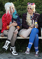 NEW YORK, NY - OCTOBER 7: Cosplayers chatting on a bench near New York Comic-Con at Jacob Javits Center  in New York, New York on October 7, 2016.  Photo Credit: Rainmaker Photo/MediaPunch