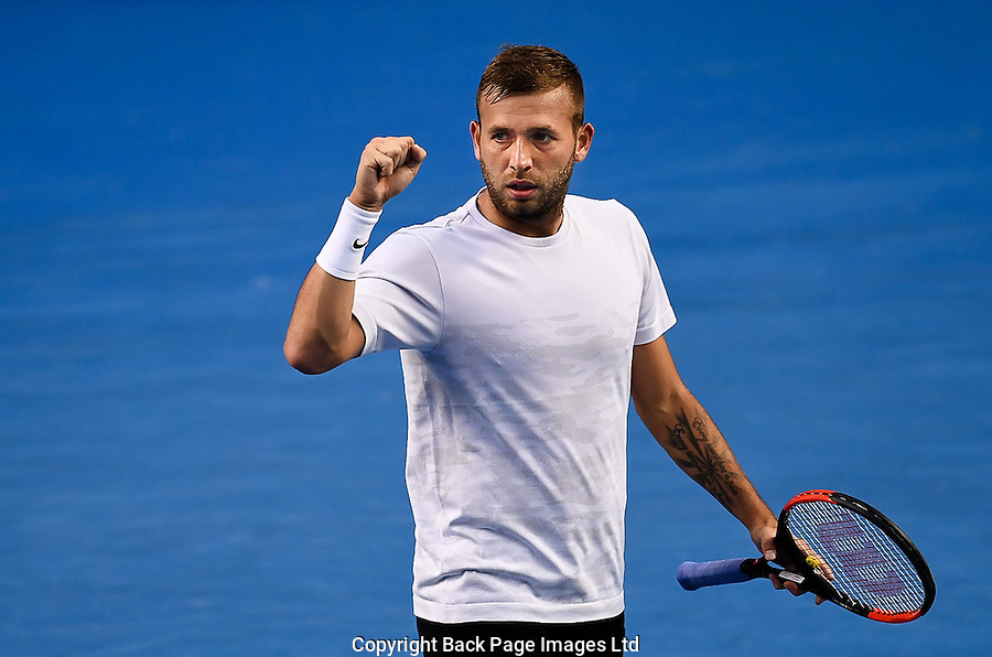 Dan Evans of Great Britain celebrates during Day Five of the Australian Open Tennis Championships held in Melbourne Park, Australia on 20th January 2017