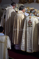 Pope Francis canonization mass for Euphrasia Eluvathingal, friar Francescano Amato Ronconi, bishop Antonio Farina, priest Kuriakose Elias Chavara, friar Francescano Nicola Saggio da Longobardi and friar Francescano Amato Ronconi in St Peter's square at the Vatican on November 23, 2014.