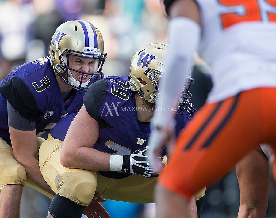 Jake Browning displays some intensity prior to the snap.