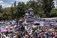 June 3, 2018: Supporters of Andres Manuel Lopez Obrador, an opposition candidate of MORENA party running for presidency (not-pictured), gather at Gustavo A. Madero park during his campaign rally in Mexico City. National elections will be hold on July 1.