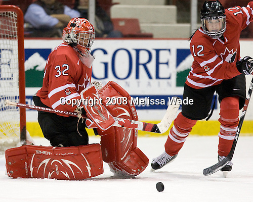 Charline Labonte (Canada - 32), Meaghan Mikkelson (Canada - 12) - Team USA defeated Team Canada 4-3 (so) to win the 2008 Four Nations Cup on Sunday, November 9, 2008, in the 1980 Rink in Lake Placid, New York.