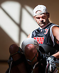 Danny White, from Newark, takes the ball to the goal during the 5th annual Quad Rugby event in the Charles J. Ping Recreation Center on September 15, 2012.