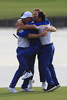 Alex Noren (Team Europe) celebrates with Thorbjorn Olesen, Tyrrell Hatton and Francesco Molinari (Team Europe) after winning his match on the 18th green during the Sunday Singles of the Ryder Cup, Le Golf National, Ile-de-France, France. 30/09/2018.<br /> Picture Thos Caffrey / Golffile.ie<br /> <br /> All photo usage must carry mandatory copyright credit (© Golffile | Thos Caffrey)