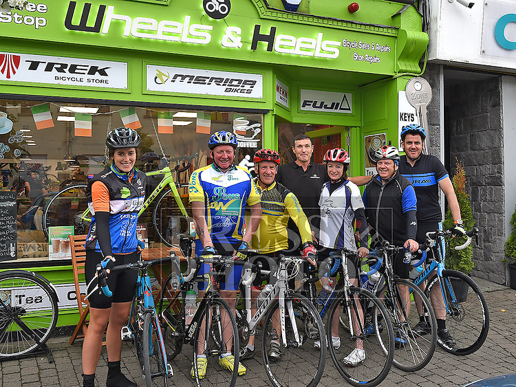 Eamon Martin from Wheels & Heels cycle shop and cafe pictured with members of Drogheda Wheelers cycle club when they dropped in for coffee during the Ardee Bonanza weekend. Photo:Colin Bell/pressphotos.ie