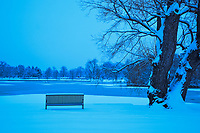 A overnight snowfall in Denver provides for a early quiet morning in Washington Park.