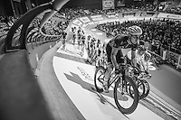 Morgan Kneisky (FRA) in the introduction laps around the velodrome at the start of the 2nd day of the 2016 Gent 6