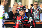 Simon Gerrans (AUS) BMC Racing Team riding his last race at sign on before the start of the 112th edition of Il Lombardia 2018, the final monument of the season running 241km from Bergamo to Como, Lombardy, Italy. 13th October 2018.<br /> Picture: Eoin Clarke | Cyclefile<br /> <br /> <br /> All photos usage must carry mandatory copyright credit (© Cyclefile | Eoin Clarke)