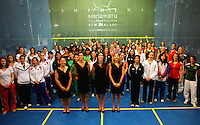 Competitors pose for a group photo during the opening ceremony. Women's World Squash Teams opening ceremony at International Pacific College, Palmerston North, New Zealand on Sunday, 28 November 2010. Photo: Dave Lintott / lintottphoto.co.nz