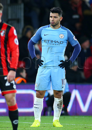 February 13th 2017, Vitality Stadium, Bournemouth, Dorset, England; EPL Premier league football, Bournemouth versus Manchester City; Sergio Aguero of Manchester City waits for a City corner
