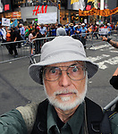 Selfie of Jim Peppler at the Peoples Climate March in Borough of Manhattan, in New York City, on Sunday, September 21 , 2014. Photo by Jim Peppler. Copyright Jim Peppler 2014 all rights reserved.