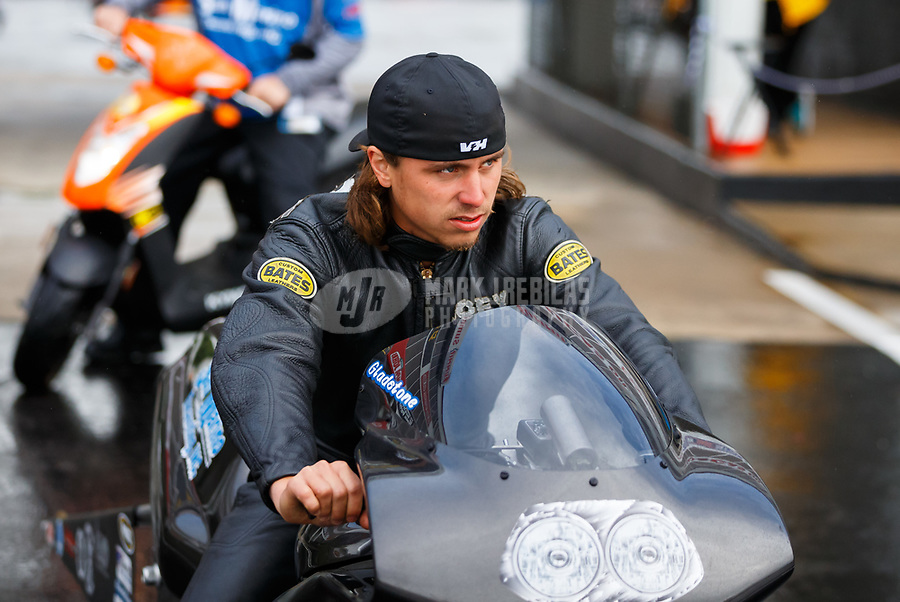 May 5, 2017; Commerce, GA, USA; NHRA pro stock motorcycle rider Joey Gladstone during qualifying for the Southern Nationals at Atlanta Dragway. Mandatory Credit: Mark J. Rebilas-USA TODAY Sports