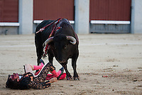 Fernando Cruz with two serious injured by bull horn  during the  bullfight Virgen de la Paloma festivity