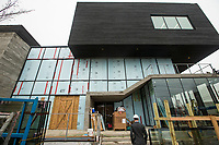 NWA Democrat-Gazette/BEN GOFF @NWABENGOFF<br /> Construction work continues around the main entrance Friday, March 1, 2019, at the new TheatreSquared building under construction in downtown Fayetteville.