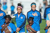 Kansas City, MO - Sunday September 11, 2016: Desiree Scott, Shea Groom prior to a regular season National Women's Soccer League (NWSL) match between FC Kansas City and the Chicago Red Stars at Swope Soccer Village.