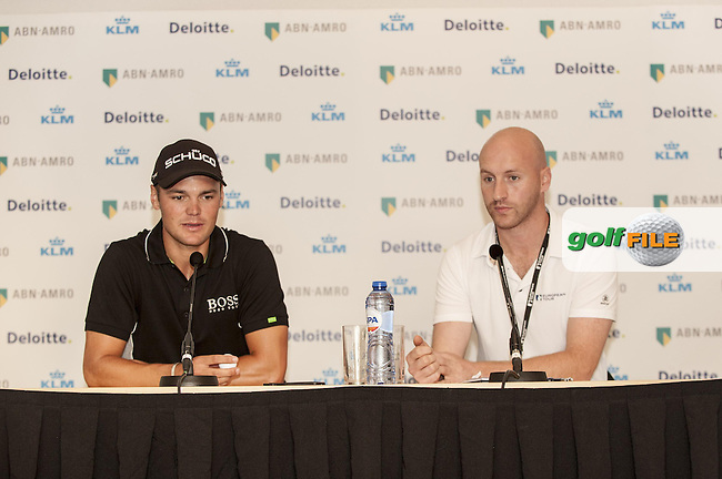 06-09-12 European Tour 2012, KLM Open, Hilversumsche Golf, Hilversum, The Netherlands. 06-09 Sep. Martin  Kaymer of Germany talks with the media after the first round at right Steve Dodd of the ET..Picture: golfsupport/golffile.ie.