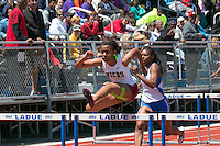 MICDS sophomore Zionn Pearson runs to victory in the 100 hurdles in 14.90 at the 2016 MSHSAA Class 4 District 3 Track and Field Meet at Ladue High School, St. Louis, Saturday, May 14.