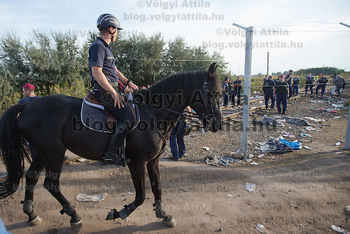 Horseman patrols as other police officers close down the last crossing until the last few meters of the fence is being built on the border between Serbia and Hungary near Roszke (about 174 km South of capital city Budapest), Hungary on September 14, 2015. ATTILA VOLGYI
