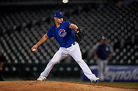 AZL Cubs 1 relief pitcher Chad Hockin (34) makes a rehab appearance during an Arizona League game against the AZL Padres 1 on July 5, 2019 at Sloan Park in Mesa, Arizona. The AZL Cubs 1 defeated the AZL Padres 1 9-3. (Zachary Lucy/Four Seam Images)