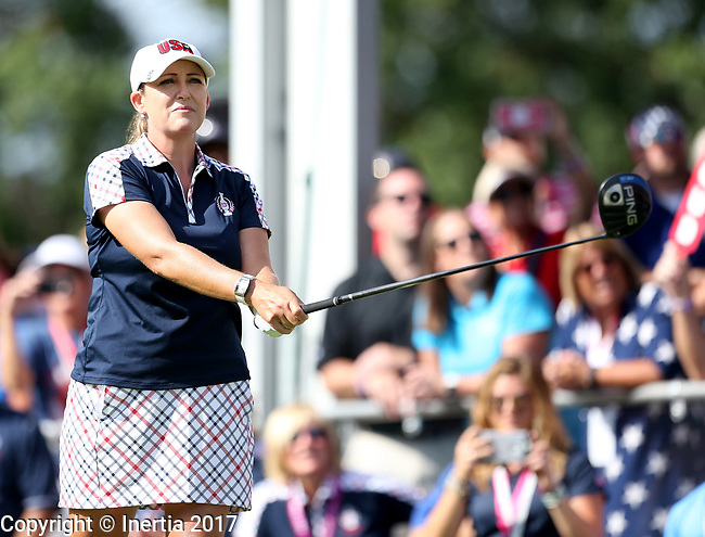 DES MOINES, IA - AUGUST 20: USA's Cristie Kerr watches her tee shot on the first hole during her singles match Sunday morning at the 2017 Solheim Cup in Des Moines, IA. (Photo by Dave Eggen/Inertia)