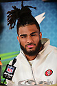 MIAMI, FL - JANUARY 27: San Francisco 49ers Linebacker Fred Warner (#54) answers questions from the media during the NFL Super Bowl ( LIV)(54) Opening Night at Marlins Park on January 27, 2020  in Miami, Florida. ( Photo by Johnny Louis / jlnphotography.com )