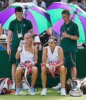 28-06-12, England, London, Tennis , Wimbledon, Arantxa Rus and Eleni Danillidou(R)