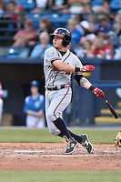 Rome Braves third baseman Jordan Edgerton (13) swings at a pitch during a game against the Asheville Tourists on May 15, 2015 in Asheville, North Carolina. The Braves defeated the Tourists 6-0. (Tony Farlow/Four Seam Images)