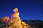 Balanced Rock formation at night  in the Valley of Fire State Park, near Overton, Nevada