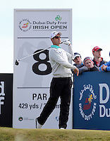 Saturday 30th May 2015; Jaco Van Zyl, South Africa, pushes his tee shot left off the 8th tee<br /> <br /> Dubai Duty Free Irish Open Golf Championship 2015, Round 3 County Down Golf Club, Co. Down. Picture credit: John Dickson / SPORTSFILE