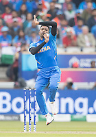 Hardik Pandya (India) in action during India vs New Zealand, ICC World Cup Semi-Final Cricket at Old Trafford on 9th July 2019