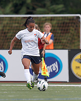 Sky Blue FC midfielder Taylor Lytle (6) dribbles. In a National Women's Soccer League Elite (NWSL) match, Sky Blue FC (white) defeated the Boston Breakers (blue), 3-2, at Dilboy Stadium on June 16, 2013.