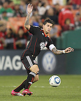 Santino Quaranta #25 of D.C. United during an MLS match against the San Jose Earthquakes at RFK Stadium in Washington D.C. on October 9 2010. San Jose won 2-0.