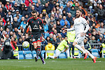 Real Madrid´s Sergio Ramos and Celta de Vigo´s Iago Aspas scores a goal during 2015/16 La Liga match between Real Madrid and Celta de Vigo at Santiago Bernabeu stadium in Madrid, Spain. March 05, 2016. (ALTERPHOTOS/Victor Blanco)