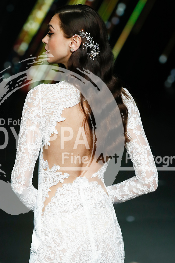 Pronovias fashion show during the Valmont Barcelona Bridal Fashion Week at the Italian Pavilion Fira Montjuic in Barcelona on April 26, 2019.<br /> Zhenia Katava