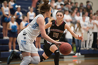 NWA Democrat-Gazette/J.T. WAMPLER  Springdale High School's Haley Dougan guards Har-Ber junior Jacie Higgins  Monday Feb. 8, 2016. For a gallery of images go to http://nwamedia.photoshelter.com/