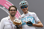 Birthday cake for Chris Froome (GBR) Team Sky at sign on before the start of Stage 15 of the 2018 Giro d'Italia, running 156km from Tolmezzo to Sappada, Italy. 20th May 2018.<br /> Picture: LaPresse/Fabio Ferrari | Cyclefile<br /> <br /> <br /> All photos usage must carry mandatory copyright credit (&copy; Cyclefile | LaPresse/Fabio Ferrari)