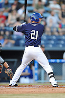 Asheville Tourists center fielder David Dahl #21 awaits a pitch during opening night game against the Delmarva Shorebirds at McCormick Field on April 3, 2014 in Asheville, North Carolina. The Tourists defeated the Shorebirds 8-3. (Tony Farlow/Four Seam Images)