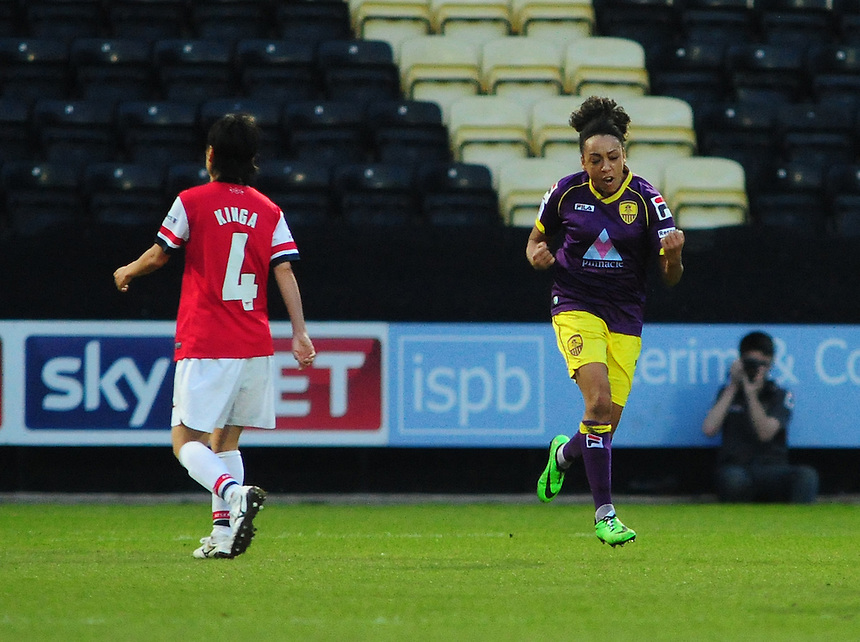 Notts County Ladies's Jess Clarke&nbsp;celebrates scoring the opening goal <br /> <br /> Photo by Chris Vaughan/CameraSport<br /> <br /> Women's Football - FA Women&rsquo;s Super League 1 - Notts County Ladies v Arsenal Ladies - Wednesday 16th April 2014 - Meadow Lane - Nottingham<br /> <br /> &copy; CameraSport - 43 Linden Ave. Countesthorpe. Leicester. England. LE8 5PG - Tel: +44 (0) 116 277 4147 - admin@camerasport.com - www.camerasport.com