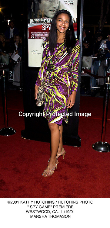 "©2001 KATHY HUTCHINS / HUTCHINS PHOTO."" SPY GAME"" PREMIERE.WESTWOOD, CA. 11/19/01.MARSHA THOMASON"