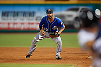 Biloxi Shuckers first baseman Patrick Leonard (20) during a Southern League game against the Pensacola Blue Wahoos on May 3, 2019 at Admiral Fetterman Field in Pensacola, Florida.  Pensacola defeated Biloxi 10-8.  (Mike Janes/Four Seam Images)