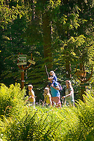 National Park Thueringer Wald, Thueringen, Germany, June 2009. A family hikes along the Gold Trail. Many hiking trails such as the famous Rennsteig and the Goldpfad cross the Thuringia Forest. Photo by Frits Meyst/Adventure4ever.com