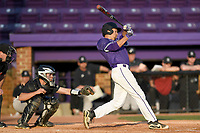 Left fielder Jabari Richards (6) of the Furman Paladins in game two of a doubleheader against the Harvard Crimson on Friday, March 16, 2018, at Latham Baseball Stadium on the Furman University campus in Greenville, South Carolina. The catcher is Devan Peterson. Furman won, 7-6. (Tom Priddy/Four Seam Images)