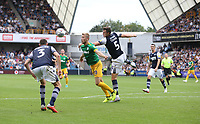 Millwall's Jake Cooper and Preston North End's Jayden Stockley<br /> <br /> Photographer Rob Newell/CameraSport<br /> <br /> The EFL Sky Bet Championship - Millwall v Preston North End - Saturday 3rd August 2019 - The Den - London<br /> <br /> World Copyright © 2019 CameraSport. All rights reserved. 43 Linden Ave. Countesthorpe. Leicester. England. LE8 5PG - Tel: +44 (0) 116 277 4147 - admin@camerasport.com - www.camerasport.com